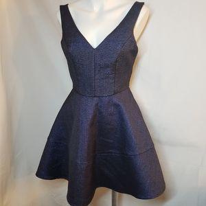 Express blue metalic jacquard dress